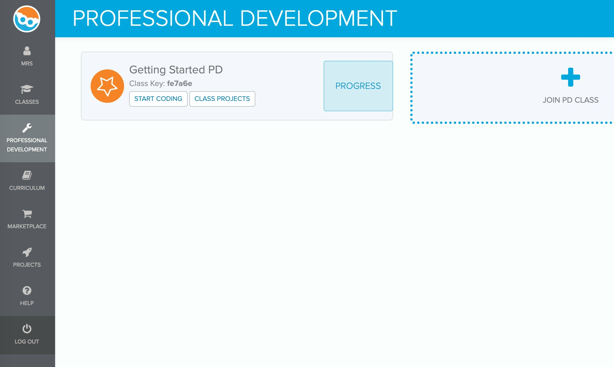 Screenshot of professional development course