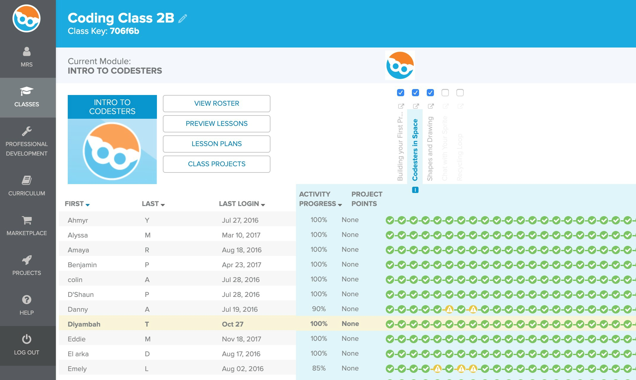 Screenshot of teacher learning management system