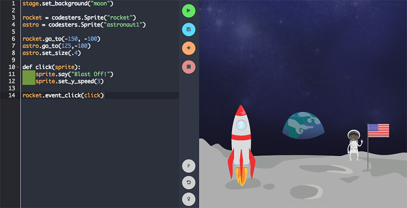 Screenshot of example student project in the code editor