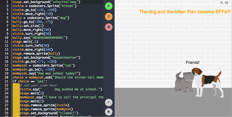 Example student project in code editor